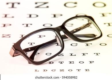 Black modern glasses on a eye sight test chart