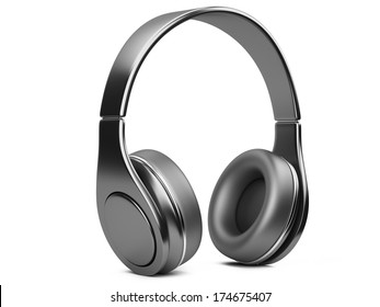 black modern headphones. 3d illustration isolated on a white background