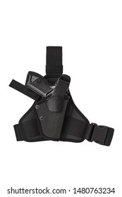 Black modern holster for a gun isolate on a white background.