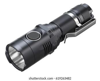 Black modern LED tactical flashlight isolated on white background - 3D illustration