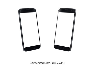 Black modern smart phone isometric view. White screen for mockup, isolated, two side.