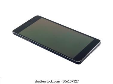 Black modern smartphone  isolated on white background