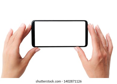 Black modern smartphone with white screen in hands isolated on a white background