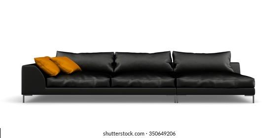 Black modern sofa isolated on white background 3D rendering