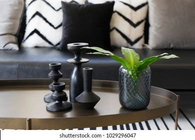 black modern vase and green leaf on center table with black and white pillows on sofa in background