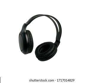 Black, modern wireless headphones on a white isolated background