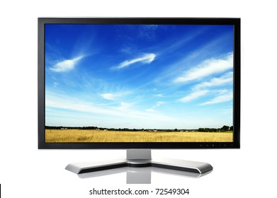 black monitor isolated on white