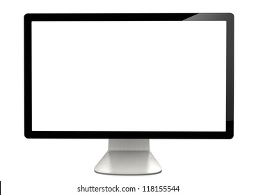 Black monitor on the white background.