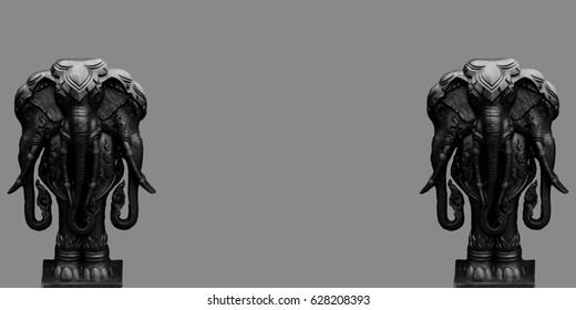 black monster or erawn,  The three head elephant warrior of the god.