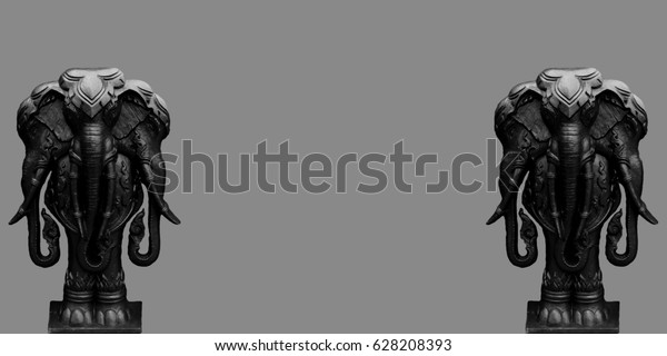 Black Monster Erawn Three Head Elephant Stock Photo (Edit