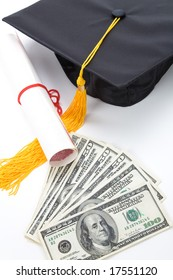 Black Mortarboard and dollar, concept of education finance