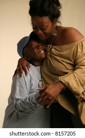 Black mother and son interacting