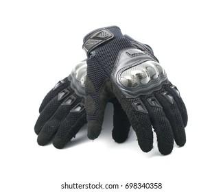 Black Motorcycle gloves isolated on white background,Biker gloves.