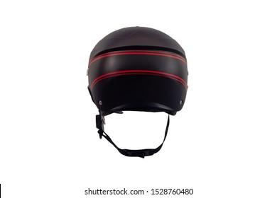 Black motorcycle helmet isolated on white background.