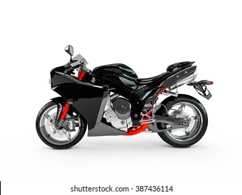 Black motorcycle isolated on a white background.