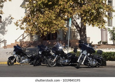Black motorcycles under a large tree, Old Town, San Diego, California