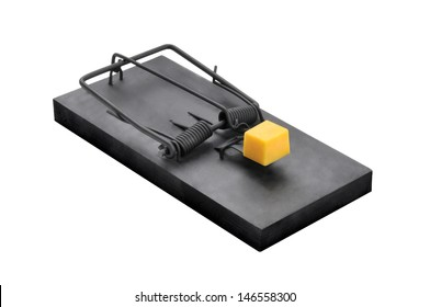 A black mouse or rat trap with a large chuck of cheese bait isolated on a white background