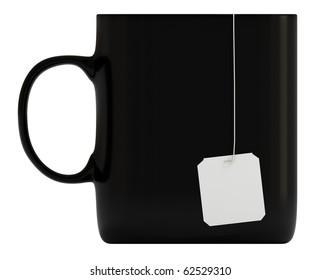 Black mug, cup, blank label, isolated on white, 3d illustration
