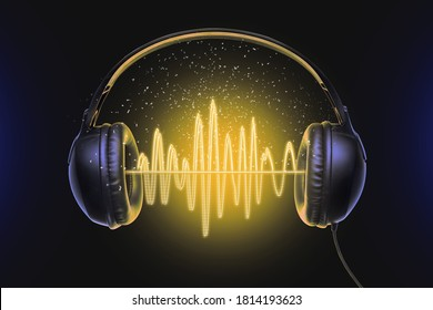 Black music headphones and sound waves with glow - Shutterstock ID 1814193623
