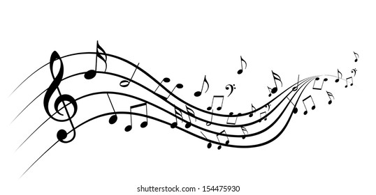 Music notes background images stock photos vectors shutterstock black music notes on a solid white background voltagebd Image collections