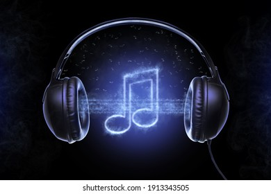 Black musical headphones, and also musical notes shrouded in a mysterious fog with bluish glowing