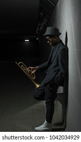 black musician with trumpet