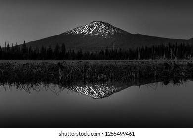 Black n White Reflection of Mt Bachelor