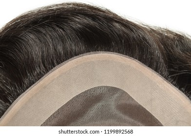 Black natural straight human hair toupee wig