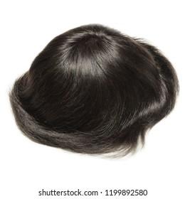 Black natural straight human hair toupee wig