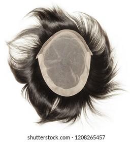 Black natural straight human hair toupee wigs