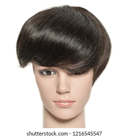 Black natural straight human hair toupee wigs