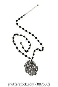 Black necklace isolated on white