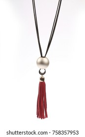 black necklace with pearl pendant