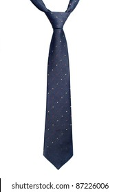 Black necktie with red and yellow spots isolated on white