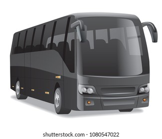 black new modern comfortable city bus on the road, no people