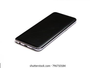 Black new smart phone isolated on white background mockup