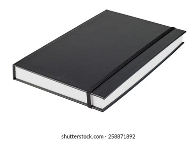 black note book isolate on white background