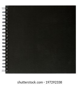 Black notebook front cover isolated on white background,  file includes a excellent clipping path