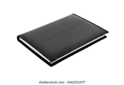 Black notebook  over a white background.
