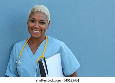 Black nurse isolated on blue