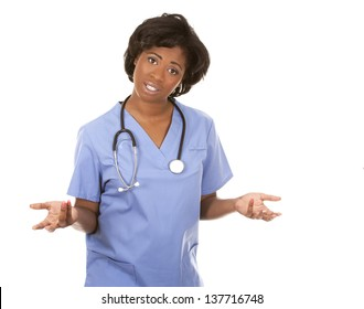 black nurse wearing scrubs on white isolated background
