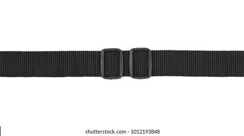 Black nylon fastening belt, strap isolated on white background