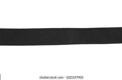 Black nylon fastening belt, strap isolated on white background