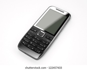 A black obsolete mobile cell phone isolated on white background