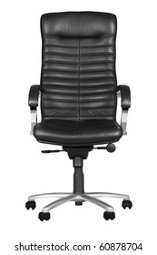 Black office armchair isolated on white background. With Clipping Path