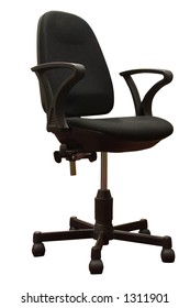 A black office chair. Isolated with path.