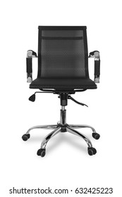 Black office chair on wheels  isolated on white background