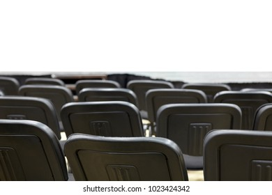 Black office chairs in the presentation room in front of an isolated white background.