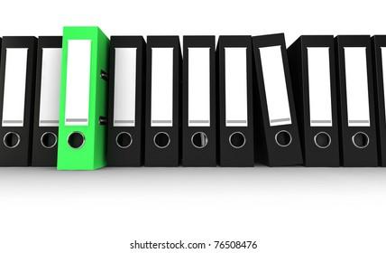 Black office folders with one green folder