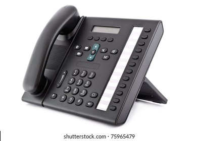 Black office IP Phone isolated on white background